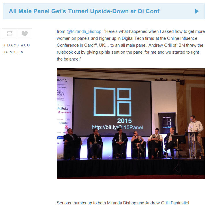 "Fixing the ""all male panel"" problem at the Oi15 conference in Cardiff in real-time – #PanelHack 2015"