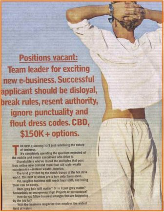 Dotcom ad for Australian Business Review Weekly in 1999